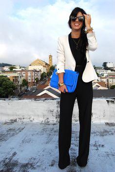 black jumper and white blazer