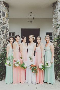 peach mint bridesmaid dresses  / Mint and peach wedding, floral, wedding decorations, wedding inspiration, bridal party, wedding day, wedding invitations, ceremony, centerpieces, greenery, spring or summer wedding, fresh wedding