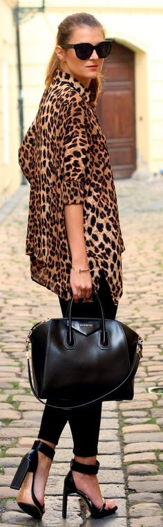 Camel And Black Loose Leo Print Button Up by Czech Chicks