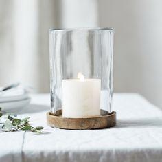 Mango Wood Medium Hurricane Candle Holder | Candle Holders | The White Company US