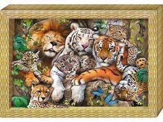 Аппликация, бумагопластика, объемная картина, подарок, купить объемную картину, 3D-аппликация, для детского творчества - Большие кошки - Zvetnoe.ru - картины по номерам, товары для хобби