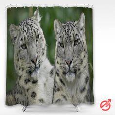 Cheap Leopard two snow Leopard Shower Curtain