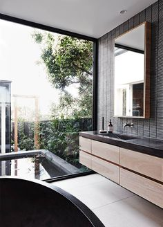 See the Australian Interior Design Awards residential finalists here: Robson Rak Architects for Malvern House, Vic Minimalism Interior, House Design, House, Outdoor Bathrooms, Bathroom Interior Design, Home, Indoor Outdoor Bathroom, House Interior, Australian Interior Design