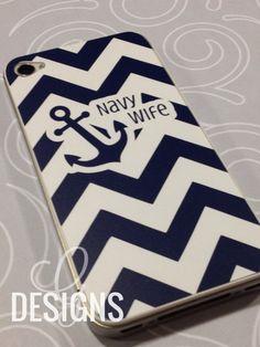 Navy Wife/Mom/Girlfriend/Sister/Fiance Chevron Print iPhone 4/4S Vinyl Decal