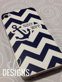 Navy Wife/Mom/Girlfriend/Sister/Fiance Chevron Print iPhone 4/4S Vinyl Decal