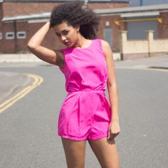 #NEW Amie #HotPink #and #Black #LacePanel #Playsuit Available now on our website - www.girlinmind.com