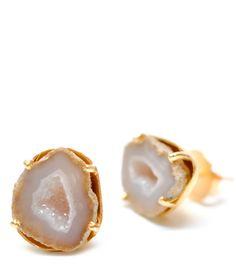 Light Geode Earrings