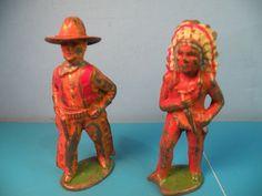 Barclay Vtg Indian Chief Warrior Cowboy Sundance Kid Lead 2PCD8   eBay