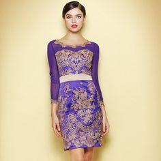 Newly Lace Embroidery Elegant Retro Purple Dress 118.00