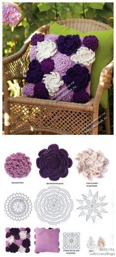 crochet flowers pillow -- wish I knew how to crochet! almofada com flores de crochet aplicadas