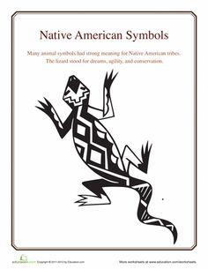 Worksheets: Native American Symbols: Lizard