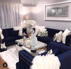 Trendy blue sofa with neutral scheme and silver accessories with mirrors and steal Silver Living Room, Blue Living Room Decor, Glam Living Room, Elegant Living Room, Living Room Designs, Bedroom Decor, Blue And Yellow Living Room, Blue Furniture, Living Room Furniture