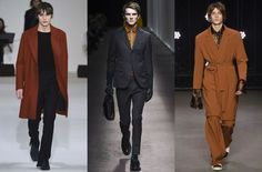 2016 MENSWEAR FASHION TRENDS   .INVEST IN COOPER.  While there was a strong representation of your traditionally autumnal navies, blacks, greys and dark greens, the colour that really stood out at the shows was copper. Replenish your stocks of the rich, orangey-brown shade now.  Shows from left to right: Wooyoungmi, Canali, Topman Design