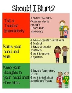 Poster to help kids regulate their impulsivity and blurting in the classroom!