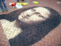 krijt tekening naar Leonardo Da Vinci chalk pastel streetart