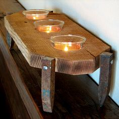 Primitive tealight holder, rustic railroad spikes candle holder