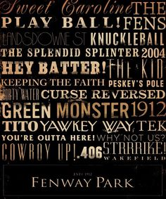 Fenway Park Red Sox typography original graphic giclee archival 8 x 10 print  by stephen fowler. $25.00, via Etsy.