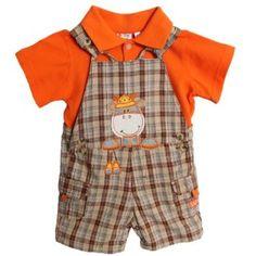 Amazon.com: Baby Togs Infant Baby Boys 2 Piece Orange Polo Giraffe Plaid Overalls Shorts Set: Clothing