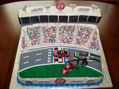 Nascar Cake I made this a for a friend that is a HUGE NASCAR fan who likes to go to the Texas Motor Speedway in Dallas. She loves Tony...