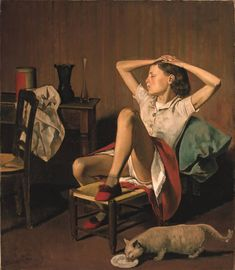"""""""Thérèse Dreaming,"""" by the French painter known as Balthus, will remain in the museum's offerings. Met Defends Suggestive Painting of Girl After Petition Calls for Its Removal Mother Painting, Painting Of Girl, Modern Artists, French Artists, Male Artists, Metropolitan Museum, David Hockney, Great Paintings, Poster Prints"""