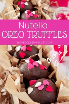 Nutella Truffles are no-bake treats filled with rich and creamy Nutella, chocolatey Oreos, and dipped in luscious chocolate. Make these truffles for the Nutella lover in your life. These are the best Valentine's Day sweets! Summer Dessert Recipes, Healthy Dessert Recipes, Sweets Recipes, Fun Desserts, Vegetarian Desserts, Delicious Desserts, Bar Recipes, Cookie Recipes, Valentine Recipes