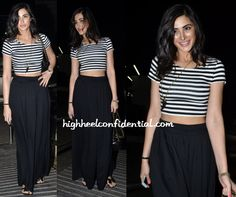 Ms. Fakhri also kept it casual at the Finding Fanny screening wearing a Forever 21 crop top with Zara palazzo pants. A Chanel quilted bag, a horn necklace and black bow flip flops finished out her at-the-movies look. It's a look I'd wear! That is, if I could rock a crop top as well as …
