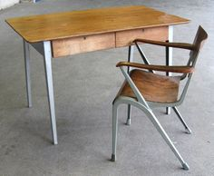 1950s Desk and Chair by James Leonard