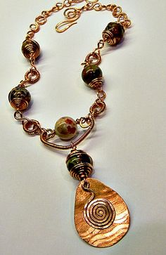 Copper Pendant and Agate Necklace