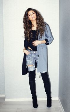 thigh high boots, ripped jeans, black bodysuit, pastel blue wool coat, long hair, brunette, curls, street wear, fashion, ootd