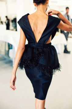 Jason Wu feather peplum dress in midnight blue Passion For Fashion, Love Fashion, High Fashion, Fashion Beauty, Womens Fashion, Fashion Details, Dress Fashion, Beauty Style, Fashion Models