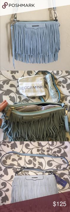 Rebeca Minkoff fringe Crossover Purse NWT💙 Beautiful SKY color Fringe Crossover Rebecca Minkoff Bags Crossbody Bags
