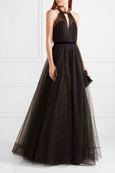 Black tulle Concealed hook and zip fastening at back 100% polyamide; lining: 100% polyester Specialist clean Imported