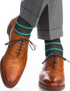 Navy with Ceramic Stripe Mercerized Cotton Socks Linked Toe Cotton Mid Calf