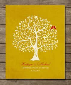 Personalized 50th Golden Wedding Anniversary Tree Gift, Personalized Anniversary Keepsake, 8 x 10 poster print custom colors, fonts via Etsy