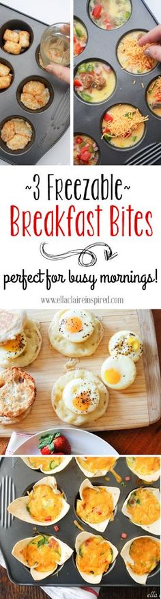 3 Freezable Breakfast Bites - Perfect for Busy Mornings.  Featured on Ella Claire Inspired.