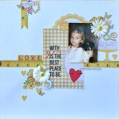 "So Sweet - My Creative Scrapbook Main Kit May '14. Simple Stories ""Homespun"" col, Prima flowers and Studio Calico Tin Badges"