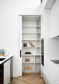 Clifton Hill House by DX Architects – Project Feature – The Local Project Contemporary Kitchen Interior, Modern Kitchen Interiors, Contemporary Cabinets, Modern Kitchen Design, Deco Furniture, Large Furniture, Herringbone Tile Floors, Clifton Hill, Clean Kitchen Cabinets