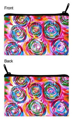 """Cosmetic Clutch Bag """"Pink Bud"""" from THE PAINTED LABEL. Perfect bag for day or night. Use as a cosmetic bag, clutch, travel bag, etc. Artist designed. Great bag to hold wallet, keys, cell phone, and more. A """"wicked"""" fun fashion accessory!"""