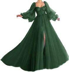 Puffy Dresses, Cute Prom Dresses, Prom Outfits, Prom Dresses With Sleeves, Pretty Dresses, Vintage Prom Dresses, Green Dress With Sleeves, Green Long Sleeve Dress, Tulle Ball Gown