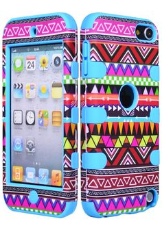 Bastex Hybrid Case for Apple iPod Touch Generation - Sky Blue Silicone/Aztec Tribal Hard Cute Ipod Cases, Ipod Touch Cases, Cool Cases, Coque Iphone 6, Iphone 4, Iphone Cases, Accessoires Iphone, Ipod Touch 5th Generation, Plushies