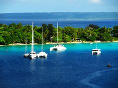 Catamarans and sailboats at Port Vila as seen from the Volendam. #Australia #Venuatu
