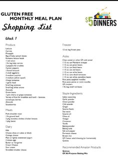 Gluten free meal plan shopping list grocery foods food