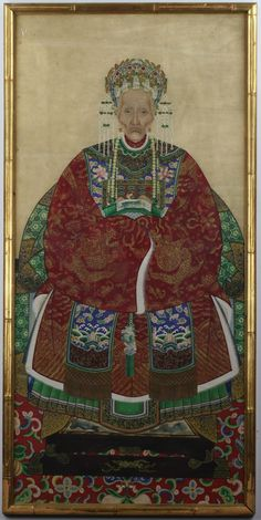 A Framed Chinese Ancestral Portrait: ink and color on paper, presented in gilt wood frame