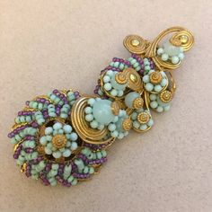 Vintage Miriam Haskell Brooch Pin~Multi-Color-Art Glass/Seed Beads/Gilt Filigree~Signed and numbered