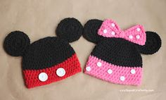 Mickey and Mini mouse hats for tutorial click link: http://www.repeatcrafterme.com/2012/06/mickey-and-minnie-mouse-crochet-hat.html?m=1