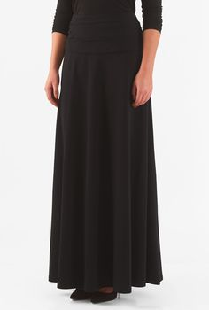 , A-line skirts, Black Skirts, cotton spandex skirts, Cotton/spandex skirts, day skirts, full length skirts, jersey knit skirts, machine wash skirts, maxi skirts, midweight skirts, ruched waist skirts, stretch skirts
