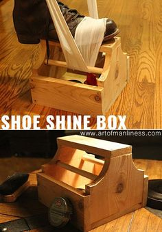 Awesome Crafts for Men and Manly DIY Project Ideas Guys Love - Fun Gifts, Manly Decor, Games and Gear. Tutorials for Creative Projects to Make This Weekend | Nifty Shoe Shine Box | http://diyjoy.com/diy-projects-for-men-crafts