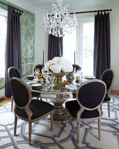 John-Richard Collection Black Linen Dining Chairs & Lisandra Dining Table