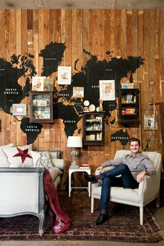 world map and curios, this could be fun if you travelled alot and didnt plan on moving house!