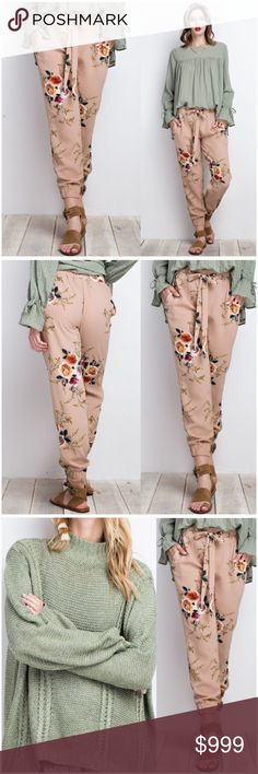 "Floral Print Joggers Pants Floral print joggers. Can be worn dressy or casual! So comfy with loose fit and all over floral print. Tan/Mocha in color with varying floral shades. Front tie. Photos show items in my closet that would coordinate.  Poly crepe fabric: 95% Polyester, 5% Spandex  Model height 5'10"" wearing the small.  Small- 2/4 Medium- 6/8 Large- 10/12  Size chart shown may vary due to desired or oversized fit.  ❗️Price is firm unless bundled❗️ #PW4491601 Pants"
